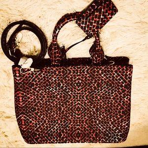 NEW Zara red & black tote - shoulder strap, mirror